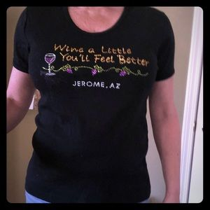 'Wine a little you'll feel better' bling tee